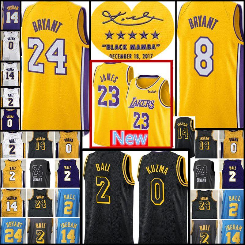 online store 09ef4 d50a2 Lakers James jersey Mens 2 Lonzo Ball 0 Kyle Kuzma 14 Brandon Ingram 24  Kobe Bryant Basketball Jerseys City