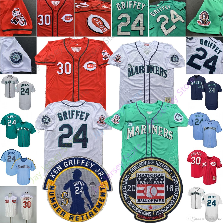 buy cheap ea4f9 86f7c Ken Griffey Jr Jr. Jersey 24 30 1995 1997 Cooperstown Seattle Cincinnati  Mariners Reds 2016 HOF Hall Of Fame Patch