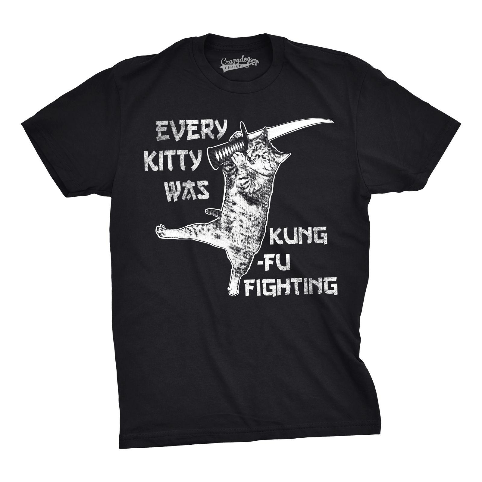 Mens Every Kitty Was Kung Fu Fighting Funny Kitten Cat Sword Music T