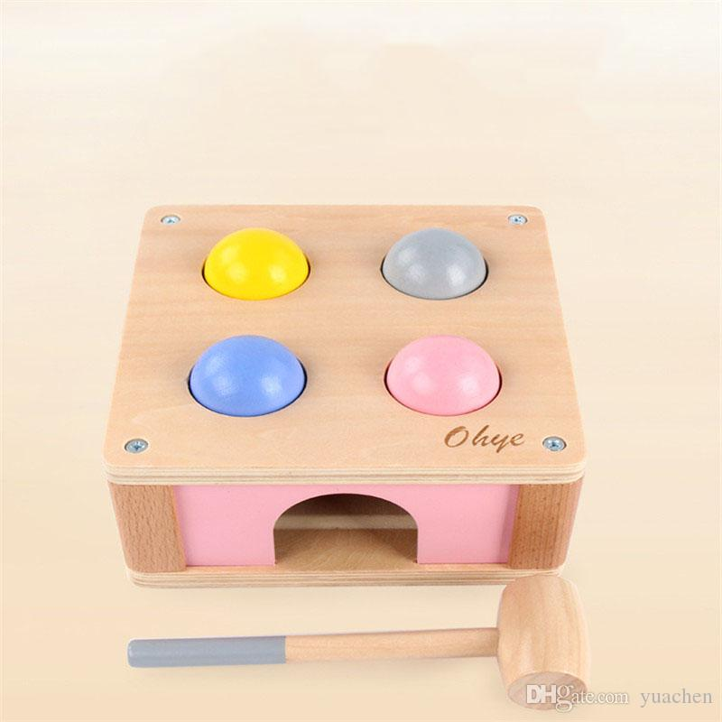 2018 new toys children's piling table intellectual strength baby early education wooden toys 1-2-3 years old knocking hammers table tennis b
