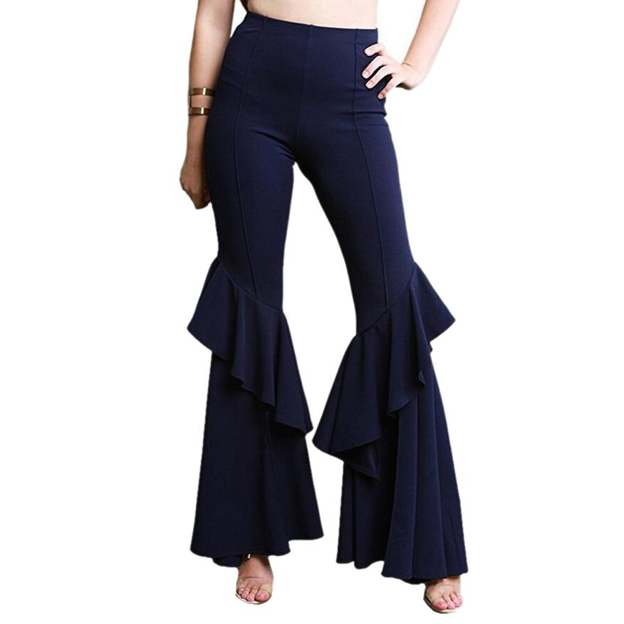 0e4d459d021fc7 2019 EAS Elegant Women Ol High Waist Wide Leg Pants Trousers Bottoms Ruffle  Bell Flared Pants Sexy Solid Wrinkled Trousers Ladies C From Vikey18, ...