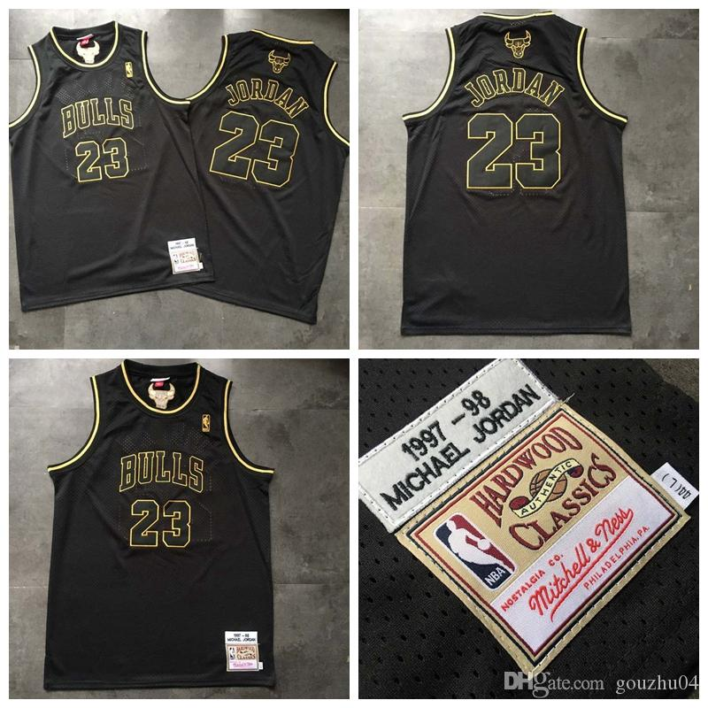 save off 215f3 3fb26 Retro Chicago Basketball Bull 23 Michael Jersey Embroidered Fabric Men  Black Gold