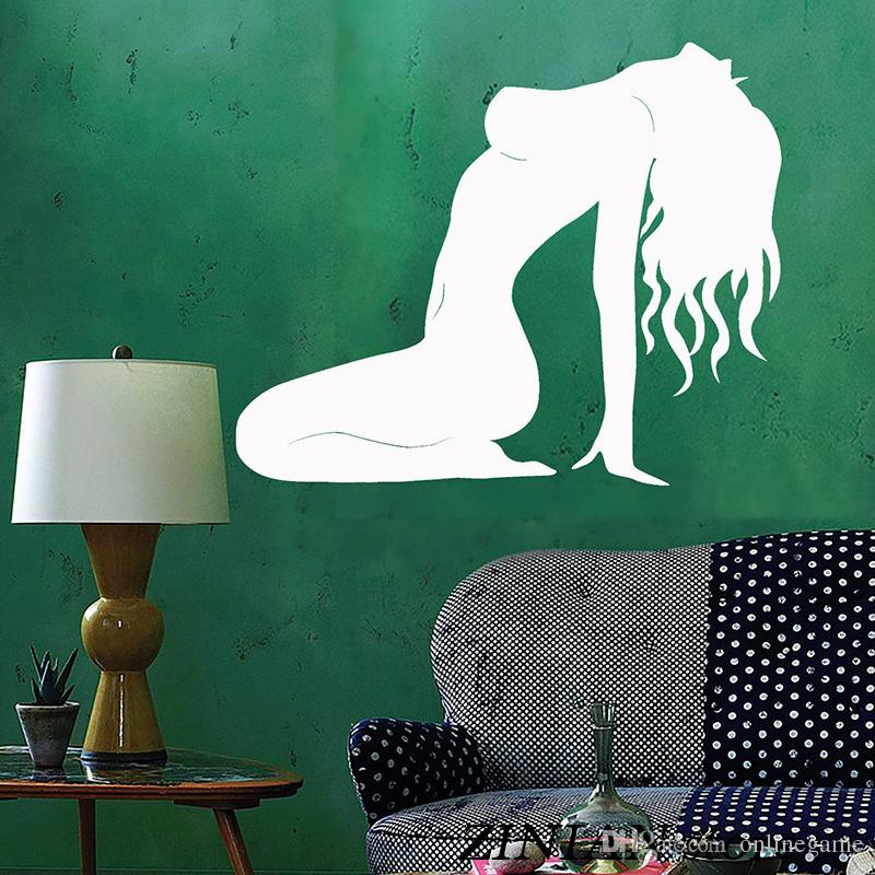 Sexy Women Silhouette Wall Decals Beautiful Girl Wall Sticker For Teen Bedroom Removable Art Mural Home Deoration Wallpaper
