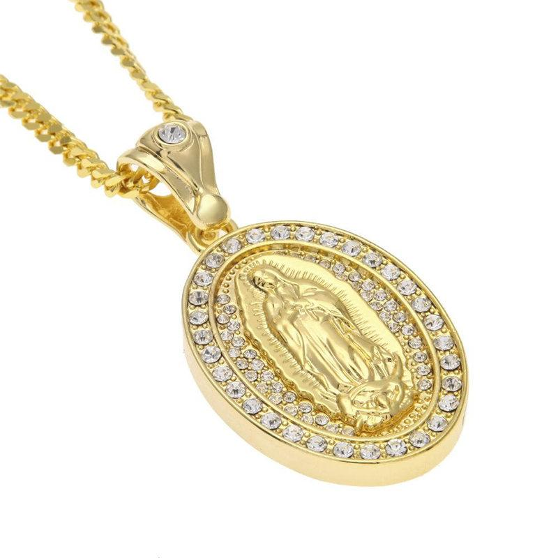0902ebd6b51 Wholesale Religious Virgin Mary Pendant Necklaces Mens Oval Charm Gold  Plated Chains Necklace Full Diamond Gold Silver Necklaces Jewelry Lover  Gift ...