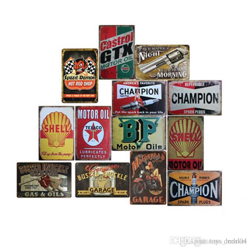 Garage Gilmore Shell Champion Motor Oil Retro Tustic metal tin signs Wall Art Vintage Tin Poster Cafe Shop Bar Home Decor Metal Painting