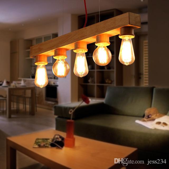 Compre JESS Japón Woode Colgante Luz Cocina Comedor Barra Lámpara ...