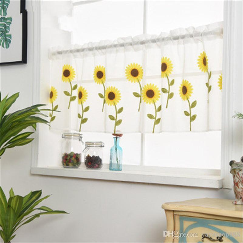 New Sunflower Curtain Pure Color Tulle Door Window Curtain Wedding Decoration Modern bedroom Living Room Curtains Cortinas Customize H107