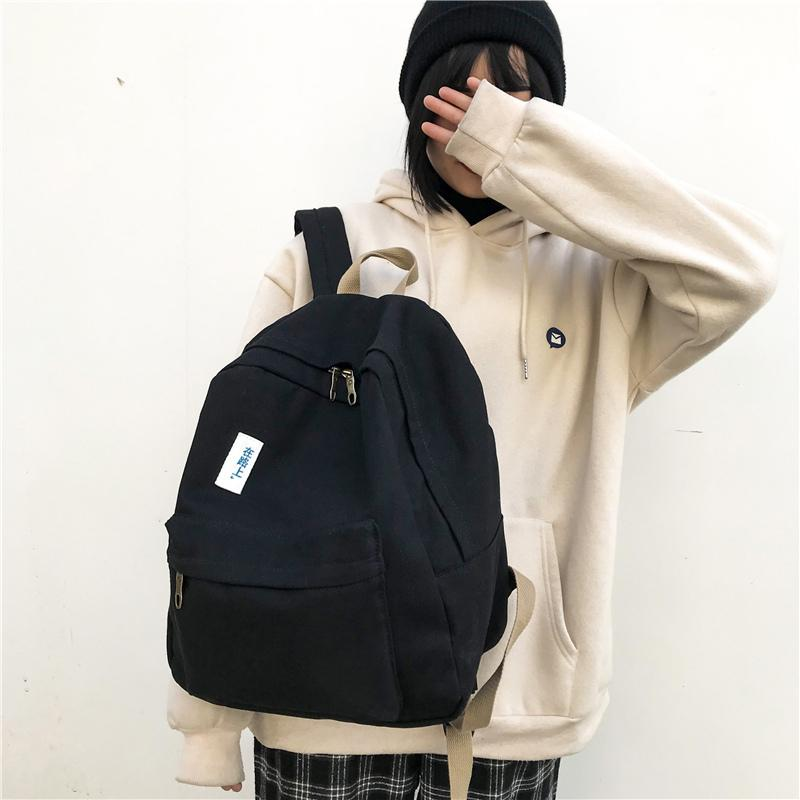 2019 New Canvas Solid Color Backpack Women Fashion Casual Bagpack Travel  Korean Version Of Harajuku Style Back Pack Mochilas College Backpacks Girl  ... 21be3d8540b37