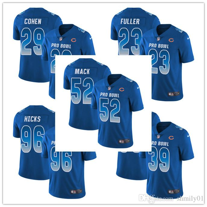 new arrival df824 0a0ac Men's 52 Khalil Mack Limited Jersey Chicago Men's Bears Royal Blue NFC 2019  Pro Bowl Football Jersey