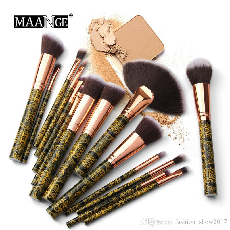 MAANGE 15 pcs Makeup Brushes Set Black Gold Stripes Foundation Eyeshadow  Concealer Multifunctional Brush for Beauty Make Up Tool Kit