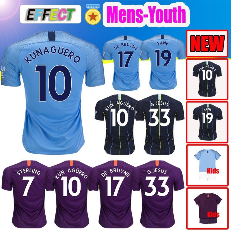 size 40 49c3a 69b03 Thailand MAHREZ JESUS DE BRUYNE Soccer jerseys 2019 SANE jersey 18 19  football KIT Top City shirt adult and kids set uniform