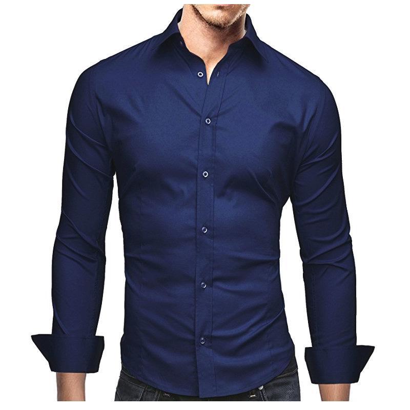 Acquista Camicie Da Uomo Marchio Maschio Camicie A Maniche Lunghe Di Alta  Qualità Casual Tinta Unita Business Slim Fit Camicie Uomo Nero 3XL A  21.73  Dal ... dfe440389e0