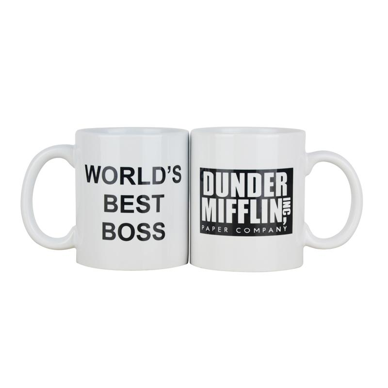 Coffee Mug cup With Dunder Mifflin The Office-Worlds Best Boss 11 oz Funny Ceramic Coffee/Tea/Cocoa Mug Unique office gift T200104