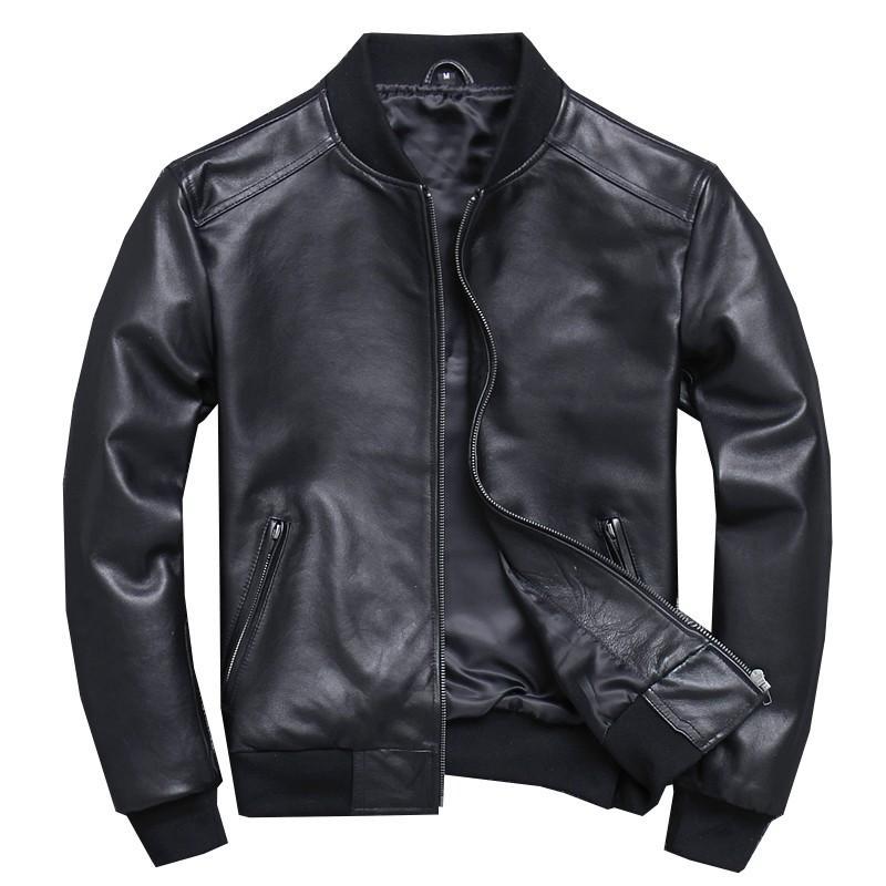 2019 Classic Black Aviation Genuine Leather Jacket Men Sheepskin