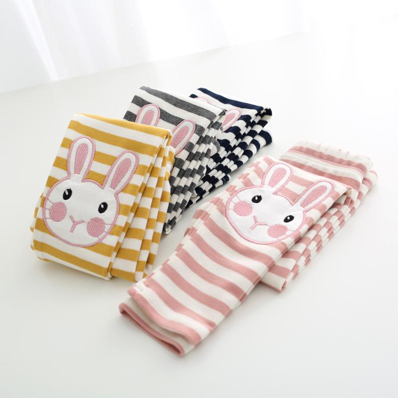 Baby Girls Pants Cute Rabbit Pattern Girls Leggings Fille Spring Toddler Baby Kids Leggins Children Skinny Striped Trousers