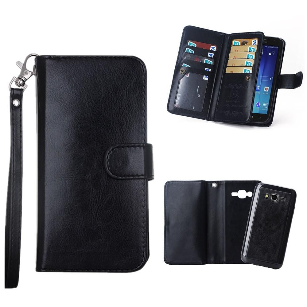 sale retailer 8588b bd428 Black PU Leather Holster Folio Case for LG G3 G4 G5 HTC M9 M10 Samsung J7  S6 Edge Plus Wallet Lanyard Card Slots Case Removable Back Cover