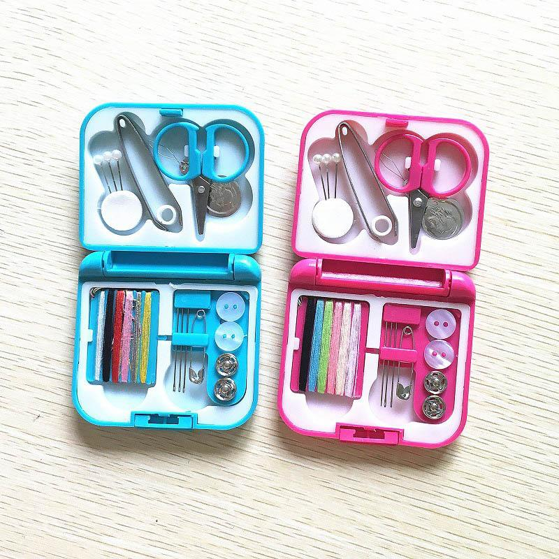 Sewing Box Needle Threads Box Portable Buttons Pins Scissor Thimble Travel Sewing Set Kits Accessories Home Tool