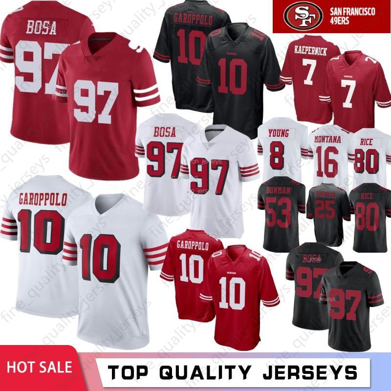 super popular 6f5f6 181f1 97 Nick Bosa 10 Jimmy Garoppolo San Francisco 49ers Jerseys 7 Colin  Kaepernick McGlinchey 56 Reuben Foster 80 Jerry Rice 16 Joe Montana