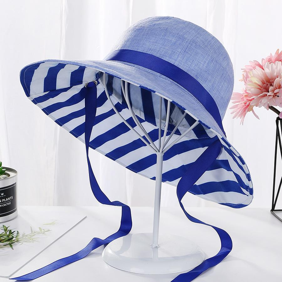 33d3100e 2019 Spring Summer Women Sunscreen Big Brim Hat Hat Ladies Korean Version  of the Fresh Striped Folding Sun Striped Sun Sun Hats Cheap Sun Hats 2019  Spring ...