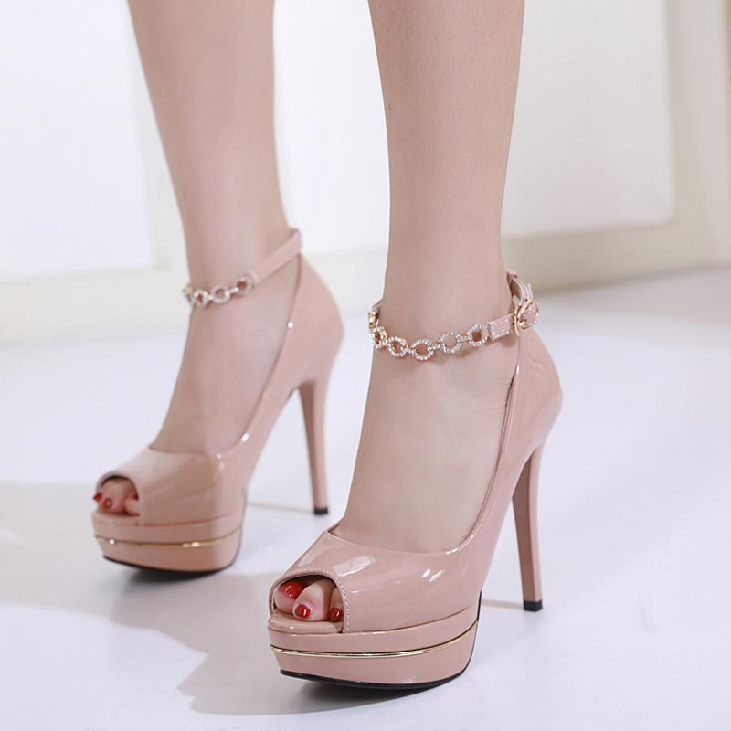Ladies High Heel Shoes Fashion Rhinestone Metal Buckle Party Shoes Elegant  Office Dress Shoes Spring Peep Toe Platform High Heel Online with   66.21 Pair on ... 0a882c88645c