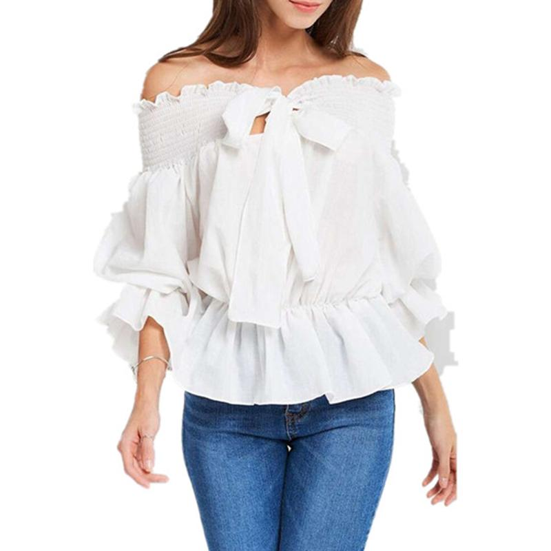 733abfe9389795 2019 Sexy Women S Chiffon Shirts Off Shoulder Short Sleeve Shirt ...