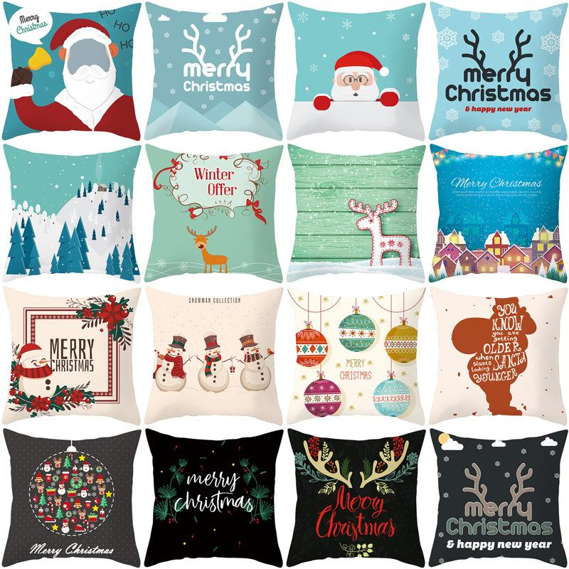Wholesale New Year Christmas Decorations for Home Minimalist Sofa Cushion Cover Print Peach Skin Pillowcase 44x4cm Navidad Natal
