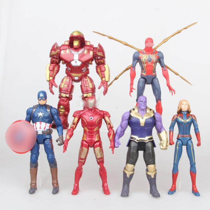 2020 6 Styles The Avengers toys New Cartoon Super hero LED Action Figures 17cm/7 inches PVC Gift For Kids C6273