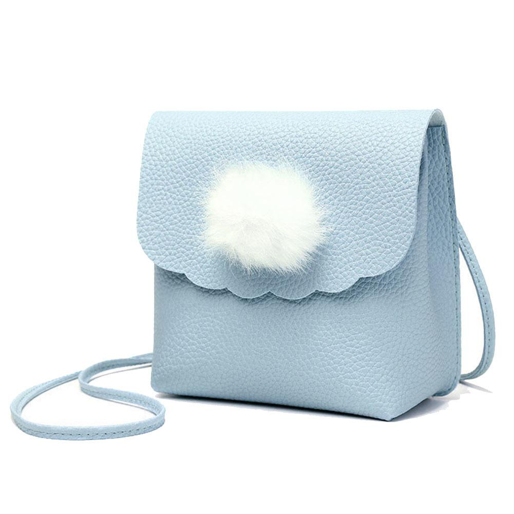 New Arrival Sweet Girls Ladies Cute Pompon Ball Crossbody Phone Bags Women Mini Pu Leather Mini Coin Shoulder Bag Popular