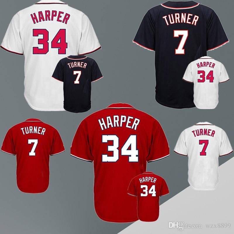 online retailer cab63 43274 Baseball jerseys Washington Nationals jerseys 7 TURNER 34 HARPER cheap and  fine embroidery logo top quality
