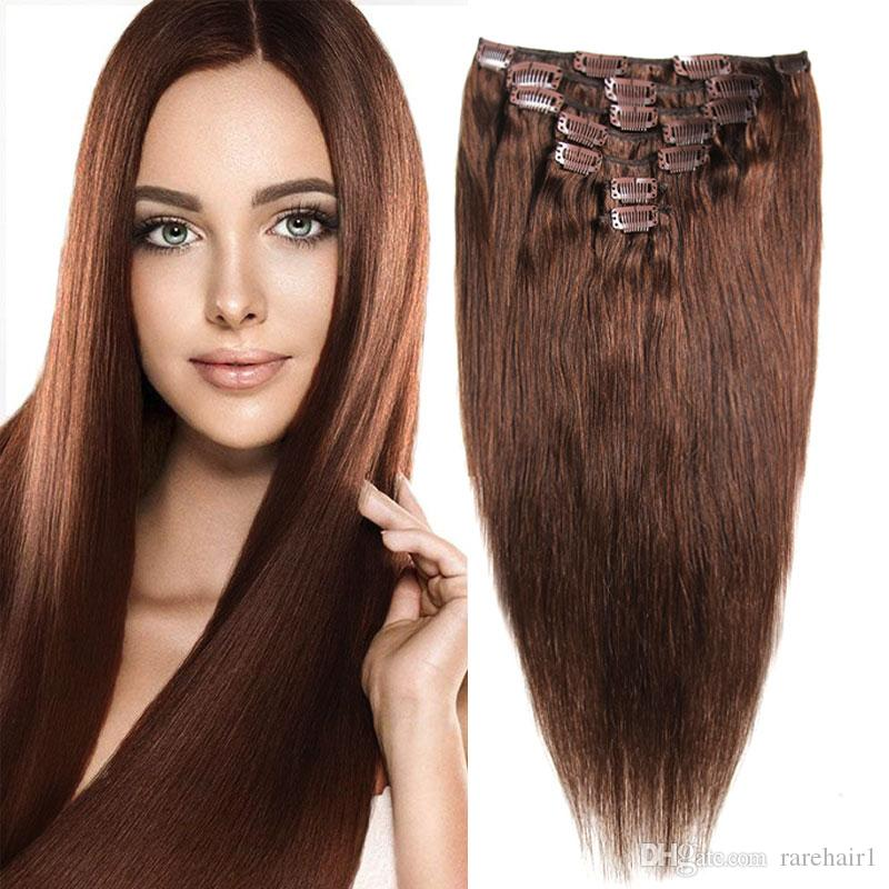 Full Head Brazilian Machine Made Remy Hair 70G  4 Blonde 14inch 20inch  Natural Straight Clip In Human Hair Extensions Euronext Remy Hair Extensions  Virgin ... 6c17728aaf15