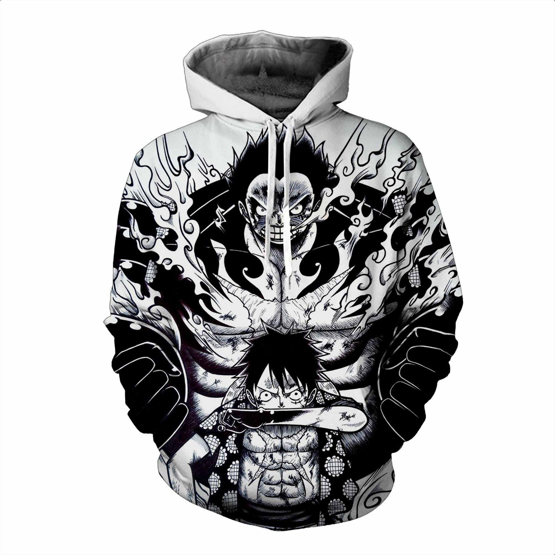 Luffy Jackets Cardigan Tops Men's Clothing Anime Hoodies One Piece 3d Printed Hooded Hoodies Sweatshirts For Men Spring Antumn Zipper Monkey D