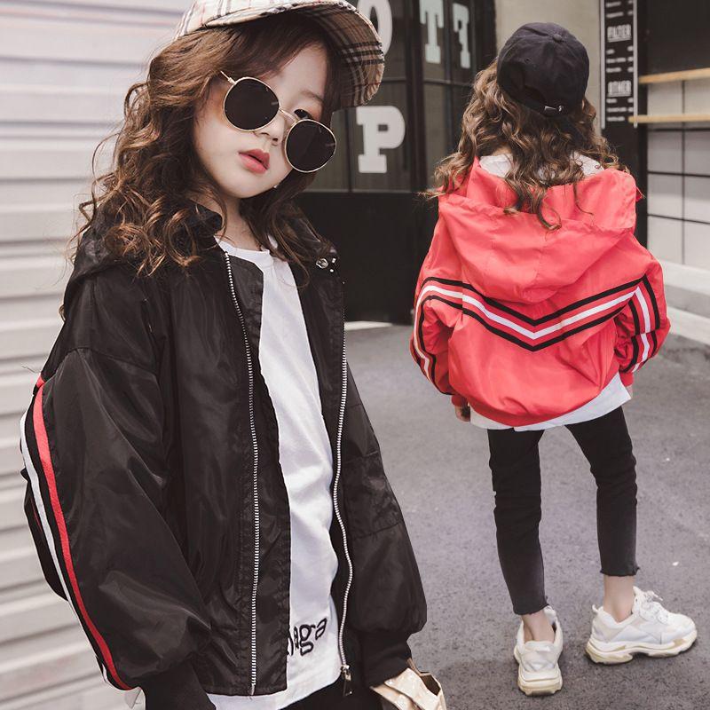Großhandel Mädchen Hoodie Jacken Frühling 2019 Rot Schwarz Baseball