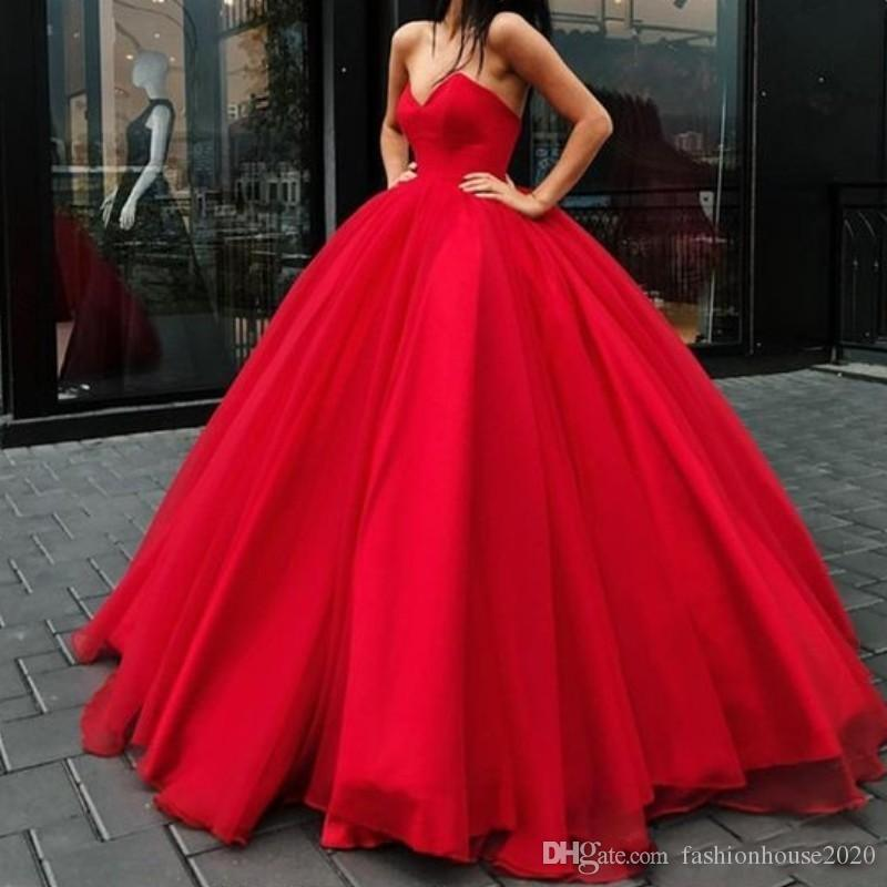 87b88cc9e5a5 New Sexy 2019 Red Ball Gown Prom Dresses Deep V Neck Sleeveless Tulle Floor  Length Corset Back Long Party Gowns Evening Dress Glamorous Modest Prom  Dresses ...