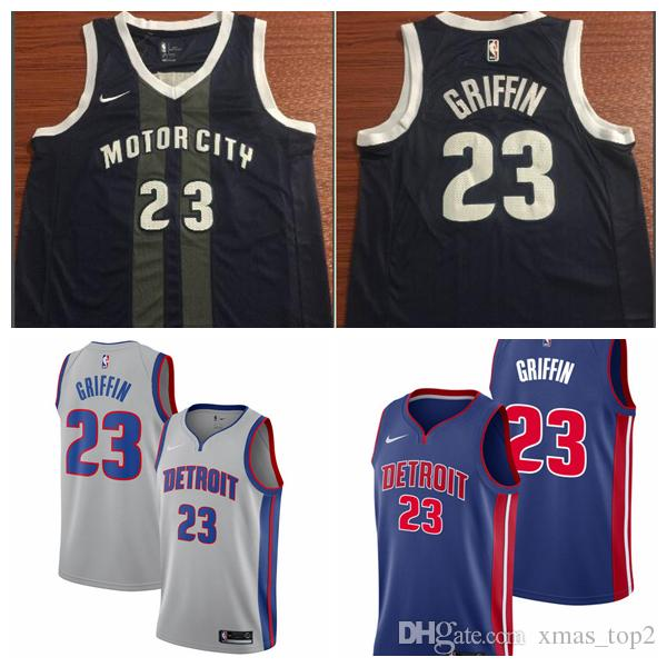 promo code e9bae 14296 Stitched 2019 New The City Jerseys Black 23 Blake Griffin Jersey Stitched  Embroidery Pistons 23 Blake Griffin Basketball Blue White