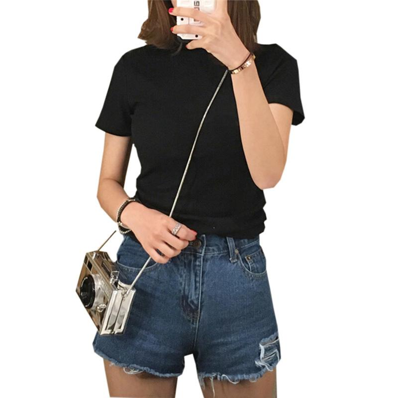 ab808301b38d Slim Bottoming T Shirts Women 2019 Spring Summer Short Sleeve Half  Turtleneck Tees Tops Ladies Casual Solid White T Shirt Re0450 Jackets And Coats  Women ...
