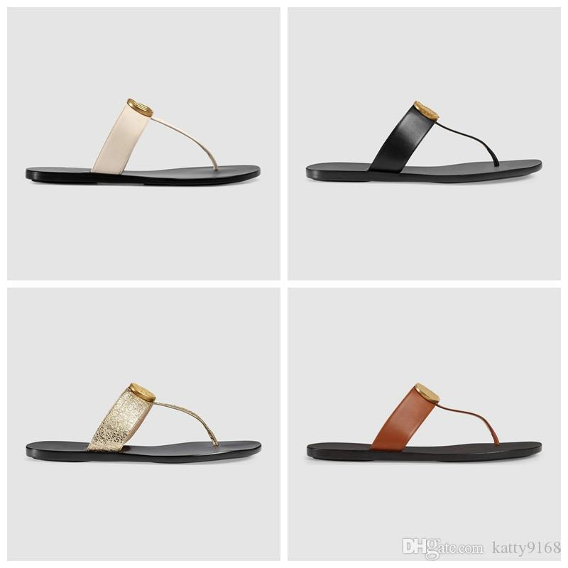 736371893 Mens And Womens Unisex Fashion Leather Thong Flat Flip Flops With Gold  Toned Hardware Boys Girls Size Euro 36 45 Shoe Sale Suede Boots From  Katty9168