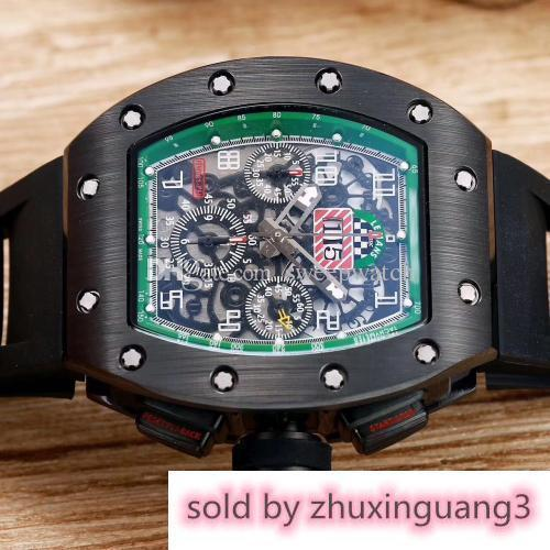 Designer New Arrival R-m Mens Watch Black Case Excellent Quality Men Watches Automatic Self-winding Sweeping Movement Watch Rubber Strap