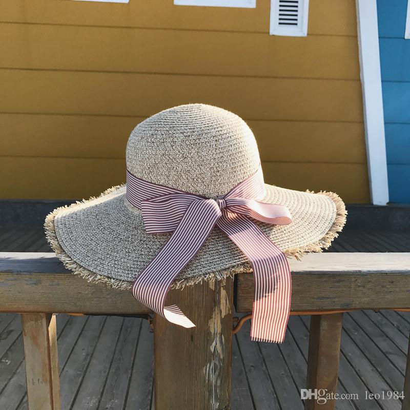 8e32101d Hat Summer Seaside Straw Protection Folding Sunshade Hat Korean Version Of  A Large Sun Hat Holiday Beach Wide Brim Hats Online with $12.42/Piece on ...