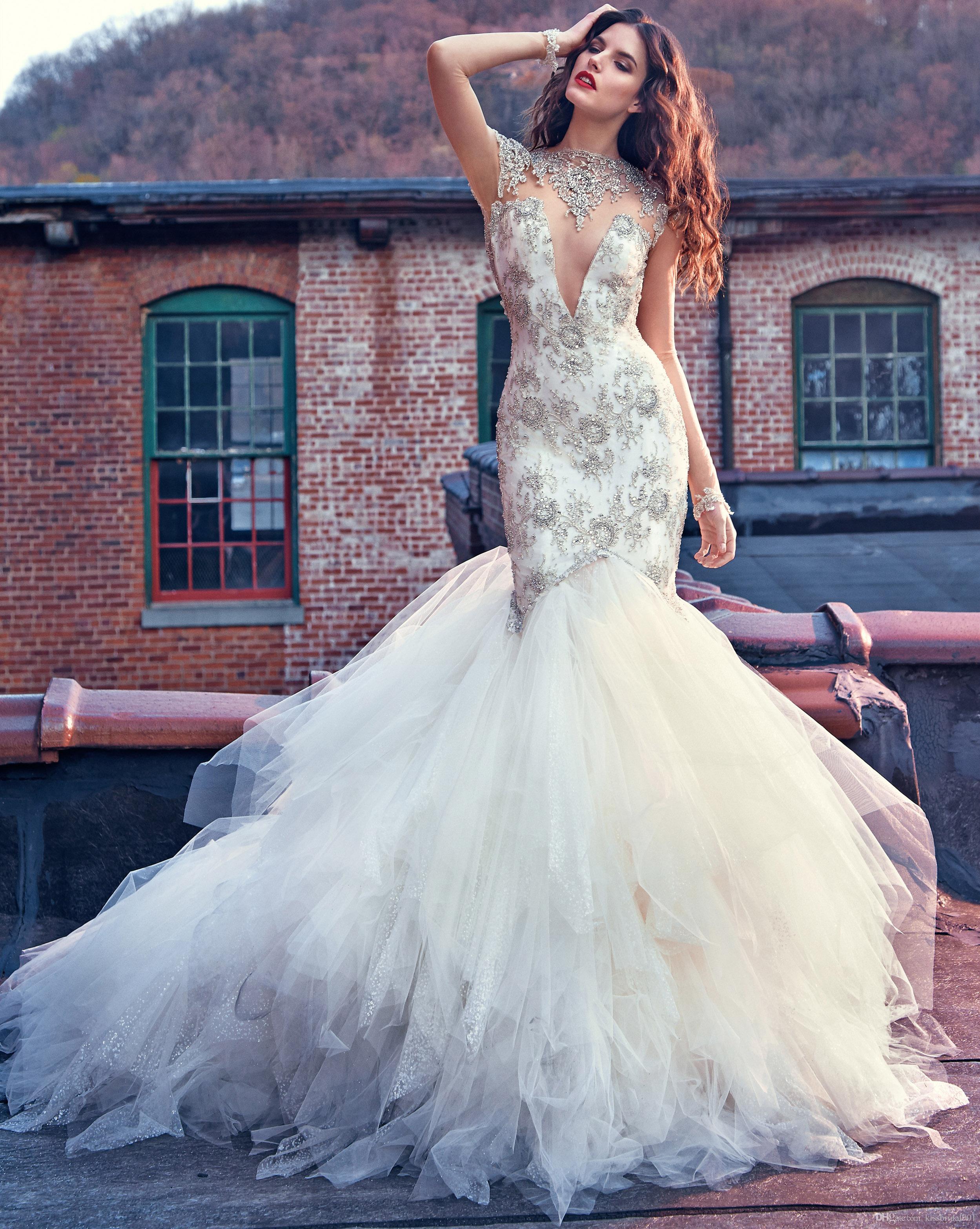 917b6a5e99 Luxury Wedding Dresses Vestido De Novia Sparkly Crystal Bead Mermaid  Wedding Dress Bridal Gowns Sheer Bodice Open Back Bride Formal Gown  Designer Mermaid ...