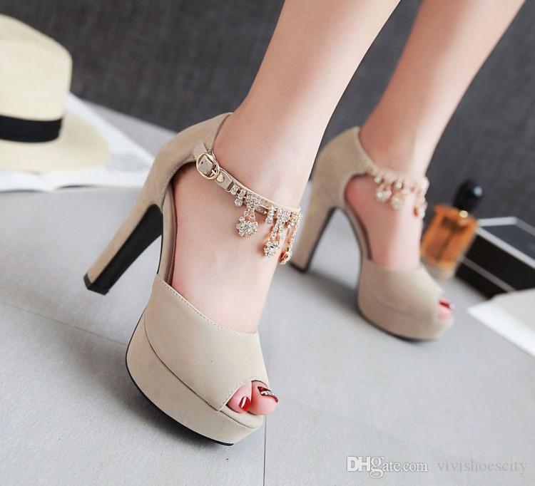 31 32 42-43 44 45 46 47 mavi elmas taklidi zinciri kalın topuk platformu sandalet kadın tasarımcı sandalet Kutusu ile gel Büyük küçük boyutlu