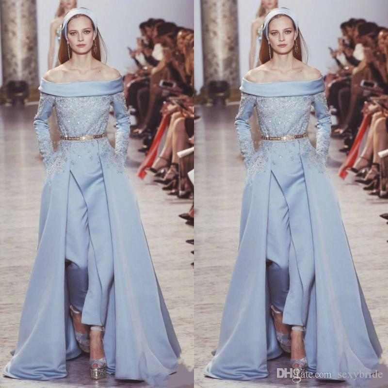 de1fc0a3e8b8 Elie Saab Jumpsuit Evening Party Wear Bateau Neck Satin Light Blue Long  Sleeve Prom Dress Beads Long Red Carpet Evening Formal Party Gowns Long  Sleeved ...