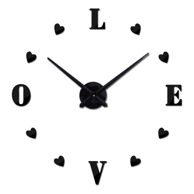 Großhandel Große Uhr 3D Uhr Wohnzimmer Quarz Acryl Spiegeleffekt ...