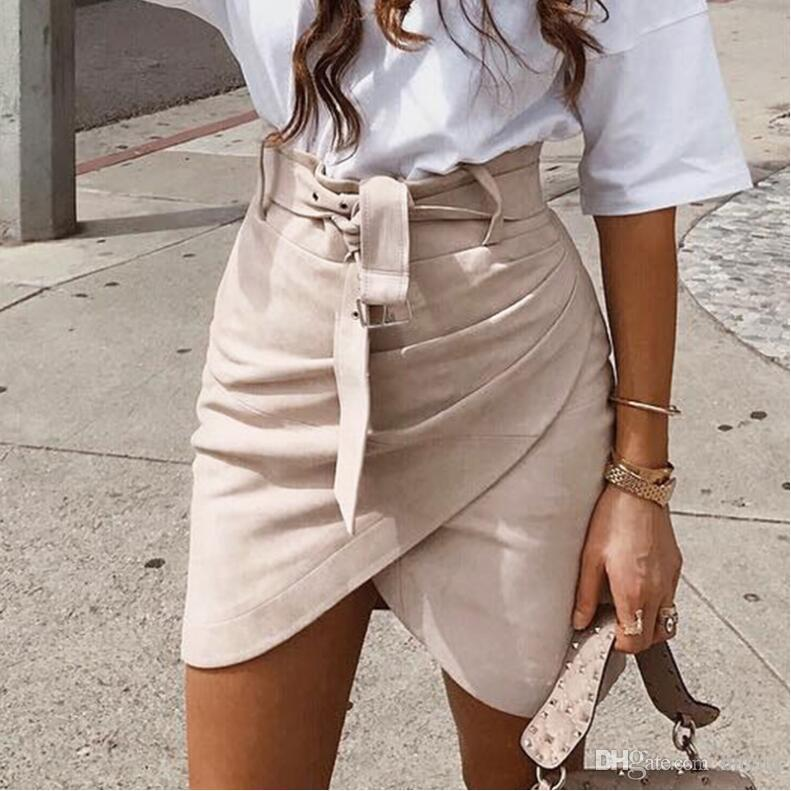 5bcdc2bfec 2019 High Waist Belt Suede Leather Skirt Female Autumn Winter Irregular  Bodycon Mini Skirt Sexy Streetwear Women Skirt Bottom From Huyuq, $23.12 |  DHgate.