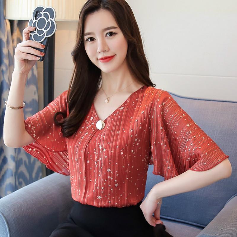 c6ba078d53e7 2019 Fashion 2019 Printing Chiffon Women S Clothing Flare Sleeve Feminine  Tops Loose Plus Size 4XL Women Blouse Shirts Blusas From Lovegucci8888