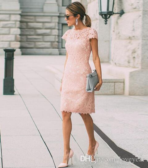 Blush Pink Lace Mother Of The Bride Dresses Summer Short Plus Size Wedding Guest Dress Sheath Knee Length Mothers Outfits Casual Wear