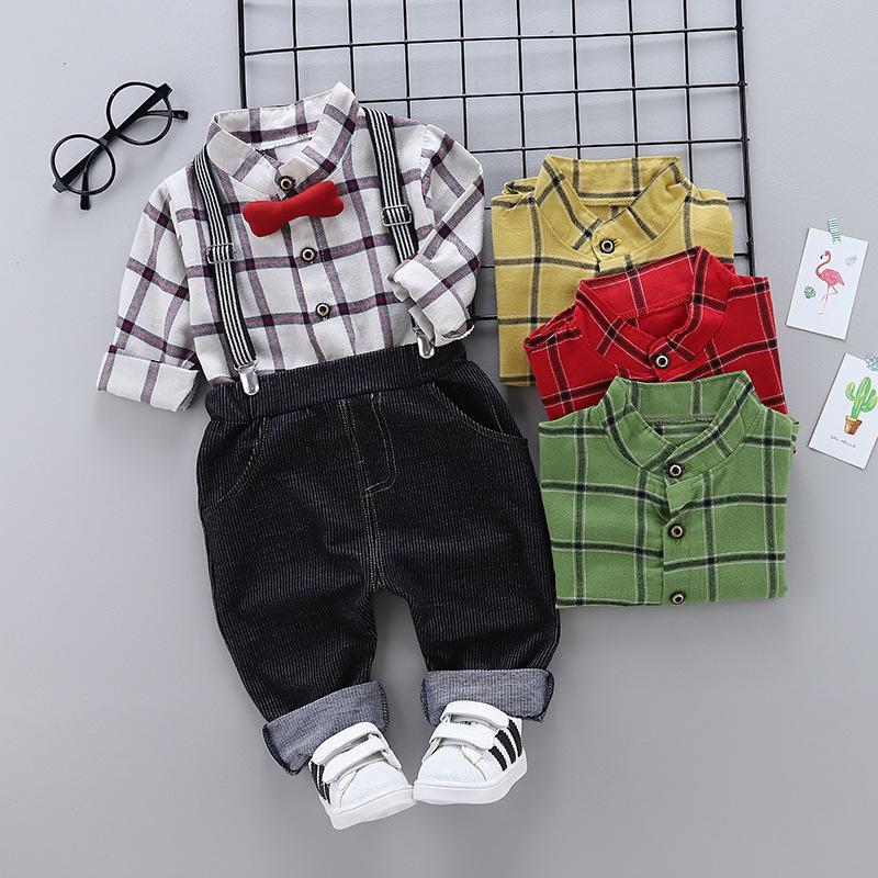 f8f574ba 2019 Good Quality Baby Boy Clothing Set New Arrived Infant Long Sleeve  Lattice Print Shirt+Bib Pants Kids Bow Tie Shirt Top Set From Westbit19, ...