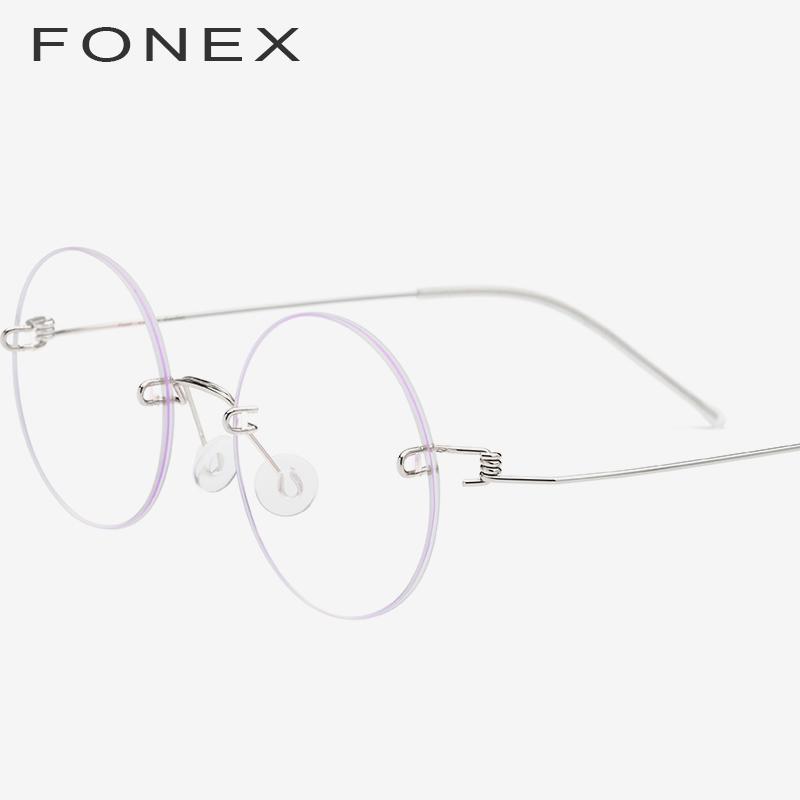b6da0e080f Compre FONEX Gafas Sin Tornillo Gafas Graduadas Para Mujer 2019 Sin Montura  Redonda Miopía Óptica De Titanio Coreano Gafas De Aleación Marco Hombres A  ...