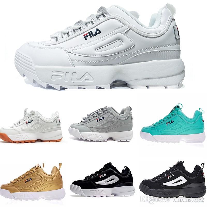 2019 chaud Date original chaussures de course blanc noir sable gris Gold Fila II 2 femmes hommes FILE section classique Randonnée Jogging Baskets de