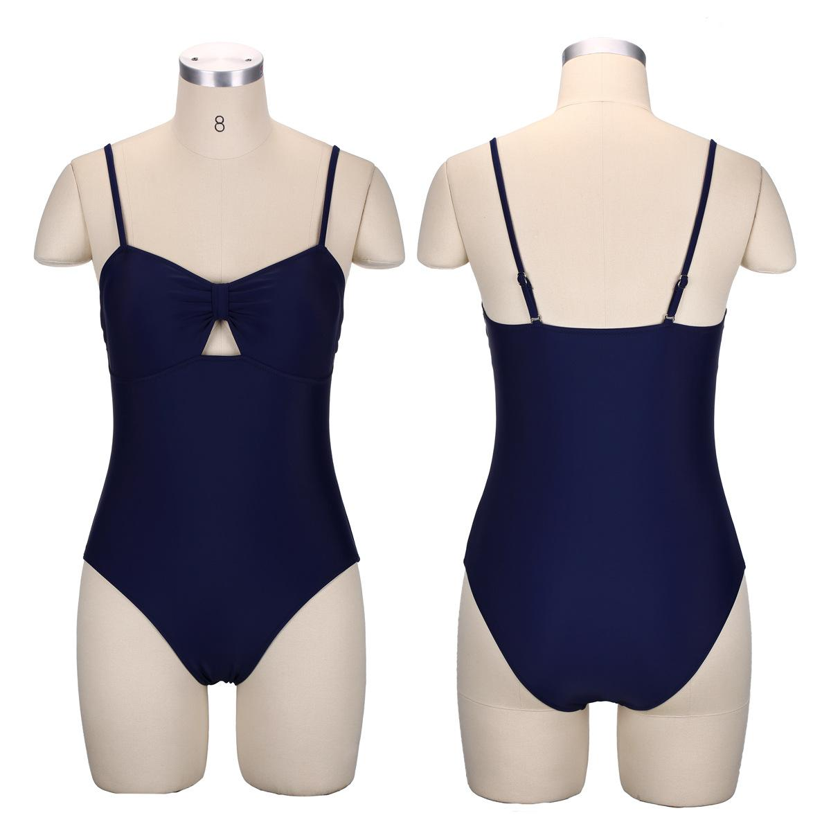 aad97425b1 Bikini Pure-color Conservative Slimming Linkage Swimsuit Women's  Cross-border Swimming Suit