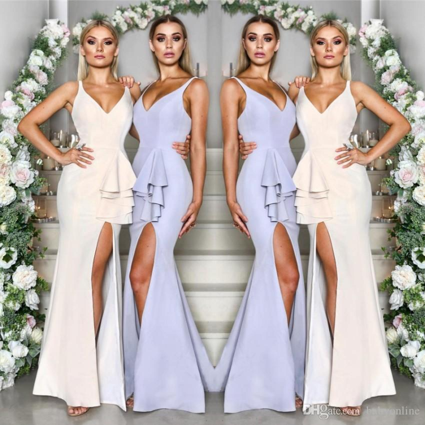 c0ceaf8fb7a Elegant Simple Mermaid Bridesmaid Dresses Sexy V Neck Front Split Ruffles  Peplum Long Wedding Guest Party Gowns Under  80 BM0624 Silver Bridesmaids  Dresses ...